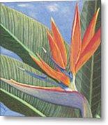 Crane Flower Paradise Metal Print
