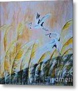 Crane On Reed Marshes Metal Print