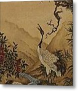 Cranes Beside A River With A Plum Tree Metal Print