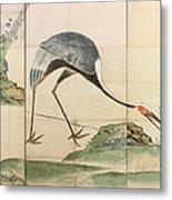 Cranes Pines And Bamboo Metal Print
