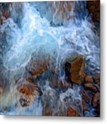 Crashing Falls On Rocks Below Metal Print