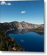 Crater Lake And Boat Metal Print