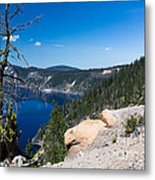 Crater Lake And Moss Covered Tree Metal Print