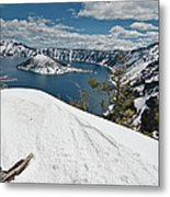 Crater Lake And Wizard Island In June Metal Print