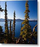 Crater Lake At Sunrise Metal Print