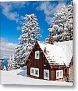 Crater Lake Home - Crater Lake Covered In Snow In The Winter. Metal Print