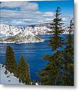 Crater Lake Winter Panorama Metal Print