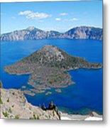 Crater Lake Wizard Island Metal Print