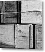Crates At The Orchard 2 Bw Metal Print