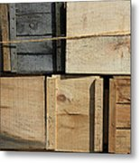 Crates At The Orchard 2 Metal Print
