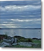 Crates By The Sea Metal Print