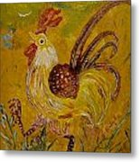 Crazy Chicken Metal Print by Louise Burkhardt