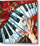 Crazy Fingers Piano Square Metal Print