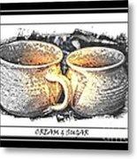 Cream And Sugar - Pottery Metal Print