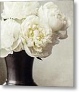 Cream Peonies In A Rustic Vase Metal Print
