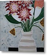 Cream Striped Vase Metal Print