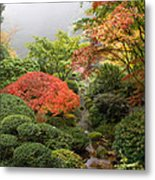 Creek At Japanese Garden In The Fall Metal Print