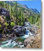 Creek Flowing Through Rocks, Icicle Metal Print