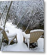 Creekside Chairs In The Snow 2 Metal Print