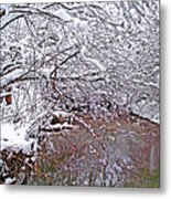 Creekside In The Snow 2 Metal Print