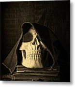 Creepy Hooded Skull Metal Print