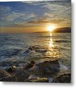 Crepuscular Rays At The Sea Metal Print