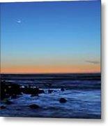 Crescent Moon Above A Rocky Shore Metal Print