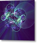 Crescent Moon And Fireworks Metal Print