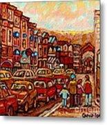 Crescent Street Family Stroll  Montreal City In Autumn City Scene Paintings Carole Spandau Metal Print