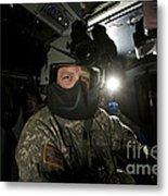 Crew Chief In A Uh-60 Black Hawk Metal Print