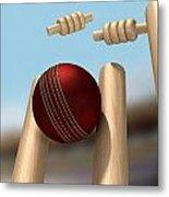 Cricket Ball Hitting Wickets Metal Print