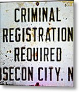 Criminal Registration Required Absecon City Nj Metal Print