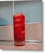 Crimson Drink In The Shade Of Red Metal Print