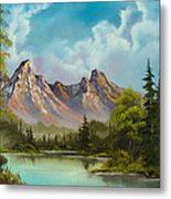 Crimson Mountains Metal Print