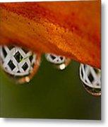 Criss Cross Water Drop Metal Print