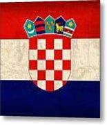 Croatia Flag Vintage Distressed Finish Metal Print