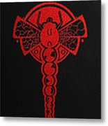 Crop Circle Formation Near Yatesbury In Wiltshire England In Red Metal Print