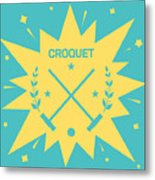 Croquet. Vintage Background With Clubs Metal Print