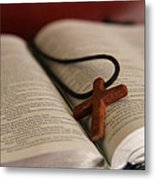 Cross And Bible Metal Print
