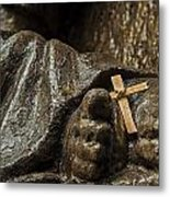 Cross And Feet Metal Print