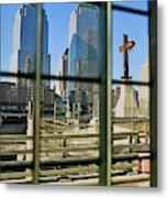 Cross At World Trade Towers Memorial Metal Print