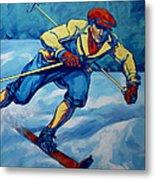 Cross Country Skier Metal Print