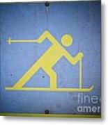 Cross Country Skiing Signboard Metal Print