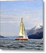 Cross Sound Sailboat Metal Print