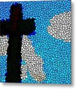 Cross Stained Glass Metal Print