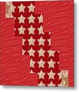 Cross Through Sparkle Stars On Red Silken Base Metal Print