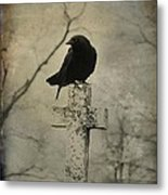 Crow On A Crooked Old Cross Metal Print