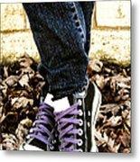 Crossed Feet Of Teen Girl Metal Print