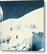 Crossing A Ravine, From A Narrative Metal Print