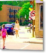 Crossing Notre Dame At Charlevoix To Dilallo Burger Montreal Summer City Scene Carole Spandau Metal Print